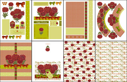 Birth Flower and Gem November Card Kit Elements Cupcake Wraps Choc Wrap & Papers