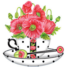 Anni Arts Handmade Card Designs Birth Flower August Shaped Teacup Cradle Card