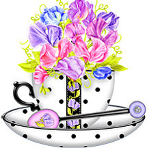 Anni Arts Handmade Card Designs Birth Flower April Shaped Teacup Cradle Card