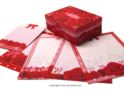 Anni Arts Crafts Red Roses Stationery