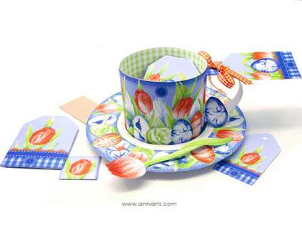 Anni Arts Paper Porcelain 3D Easter Spring Cup, Saucer and Spoon