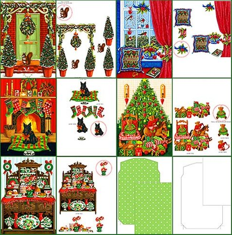 Christmas House 3D Dimensional Layer Cards, Envelope and Blank Envelope Template