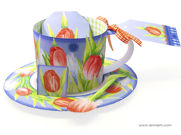 Anni Arts Paper Porcelain 3D Spring Cup, Saucer and Spoon