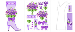 Printable Birth Flower and Gem February Shaped Stand-up Boot Card