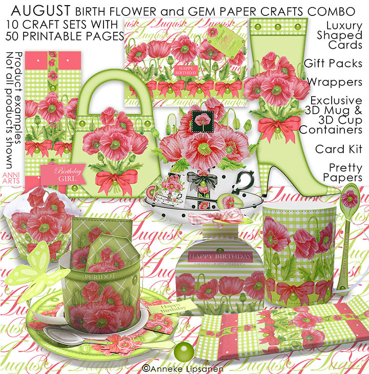 August Birth Flower and Gem Paper Crafts - ANNI ARTS CRAFTS