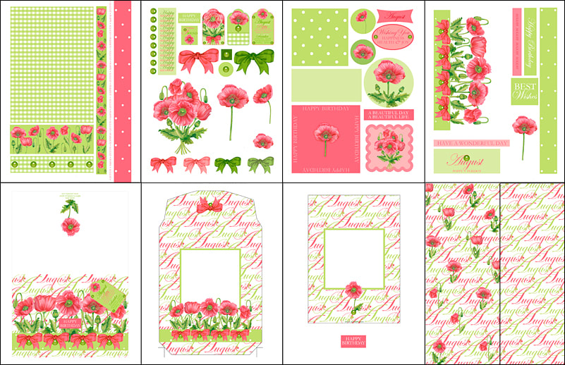 Birth Flower and Gem August Card Kit Elements Cupcake Wraps Choc Wrap & Papers