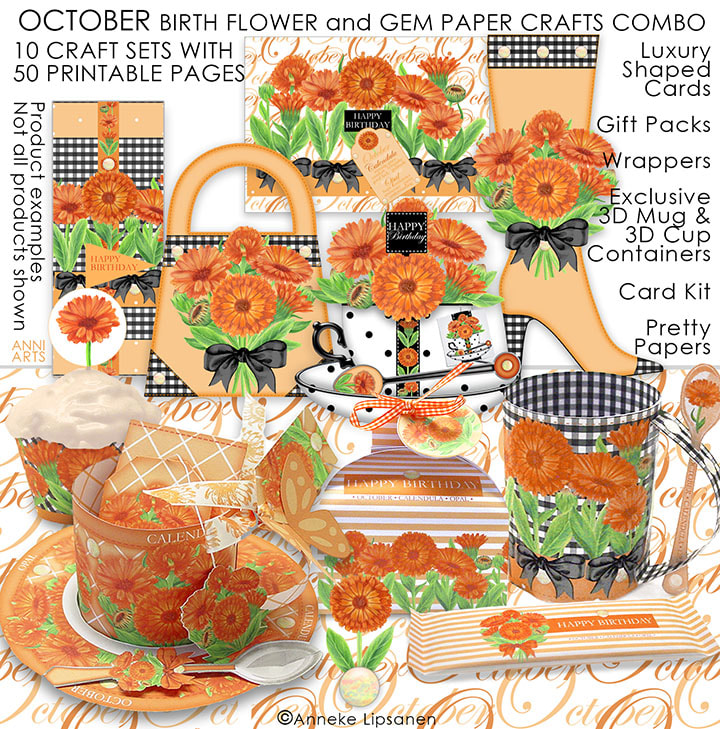 October Birth Flower and Gem Paper Crafts - ANNI ARTS CRAFTS