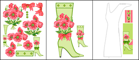 Birth Flower and Gem August Shaped Stand-up Boot Card