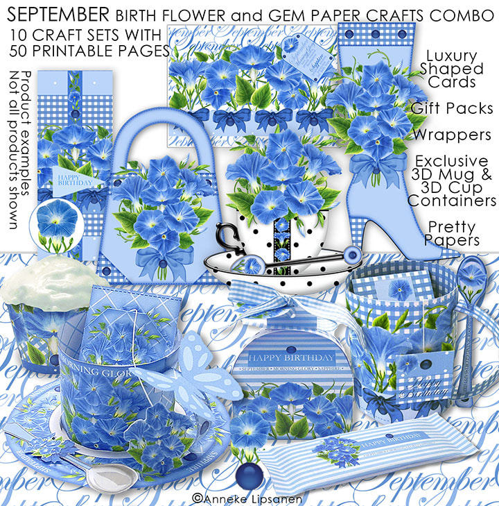 September Birth Flower and Gem Paper Crafts - ANNI ARTS CRAFTS